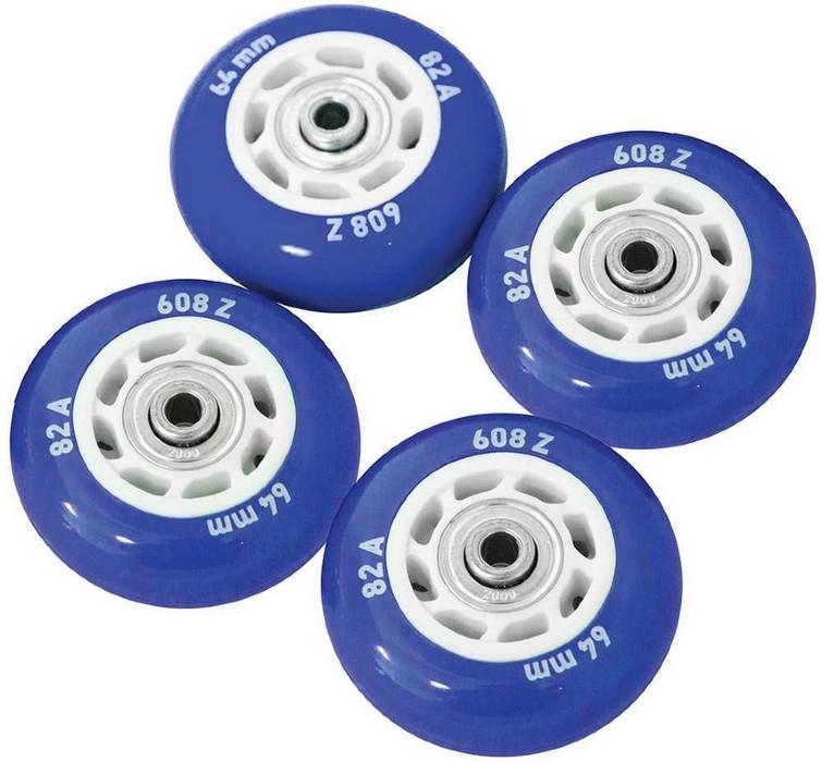 Набор колес для роликов Novus NWS-17.05 светящиеся, ПВХ (64мм Aвес-5 82A) 4 шт. синие