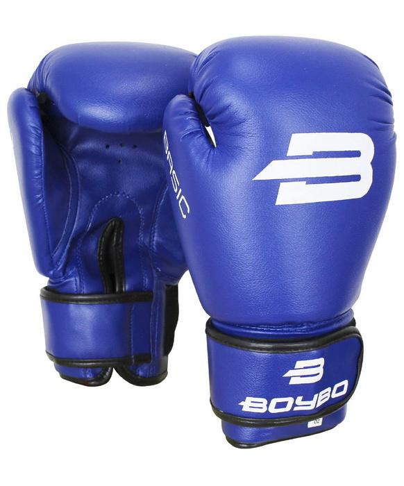 Купить Боксерские перчатки BoyBo Basic, 10 oz, к/з, синий,