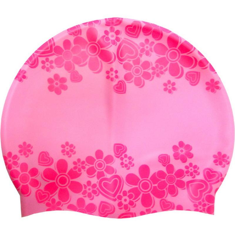 Купить Шапочка для плавания JR Розовая с Розовым принтом Love KSC-39-A, NoBrand