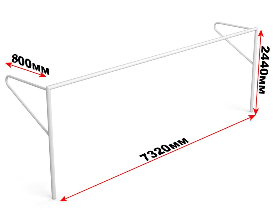 Купить Ворота футбольные стационарные с консолью для натяжения сетки Glav 15.100 (732x244см) шт,