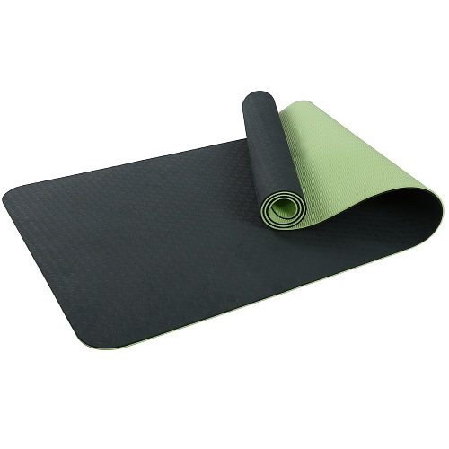 Купить Коврик для фитнеса и йоги Larsen TPE двухцветный зелён/ черный 183х61х0,6см,