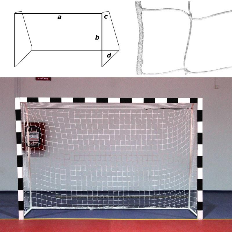 Купить Сетка гандбольно-футзальная a:3.0 b:2.0 c:0.8 d:1.5 м, нить 3,5мм ПП, ячейка10x10 см FS-G-№14 (H3.2/0815) белый, NoBrand