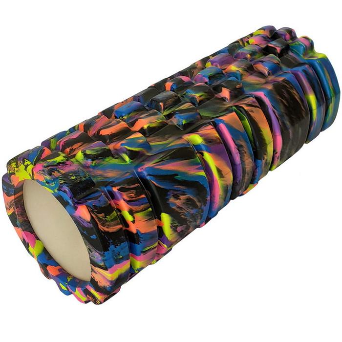 Купить Ролик для йоги (черный-мультиколор) 33х14см ЭВА/АБС E29269, NoBrand