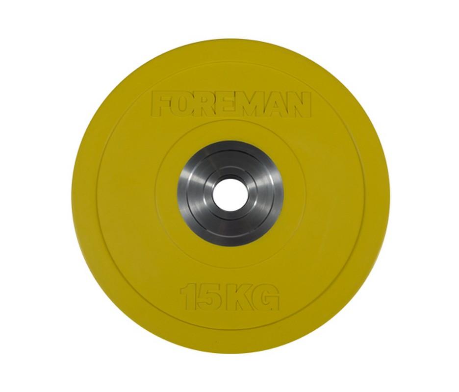 Купить Диск олимпийский бампированный Foreman Bumper, 15 кг BM-15KG Желтый,