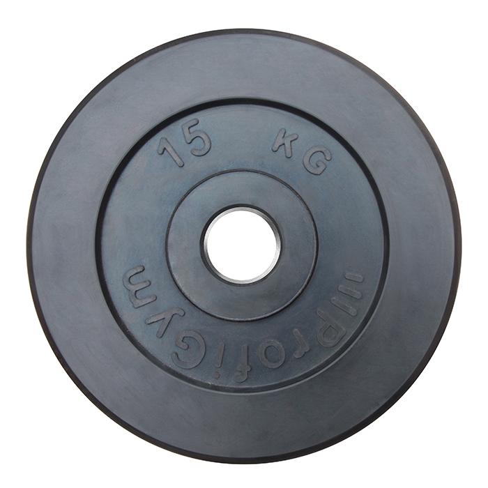 Купить Диск обрезиненный ProfiGym D=51 мм чёрный 15,0 кг ДТР-15/51,