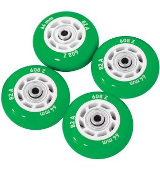 Набор колес для роликов Novus NWS-17.05 светящиеся, ПВХ (64мм Aвес-5 82A) 4 шт. зеленые