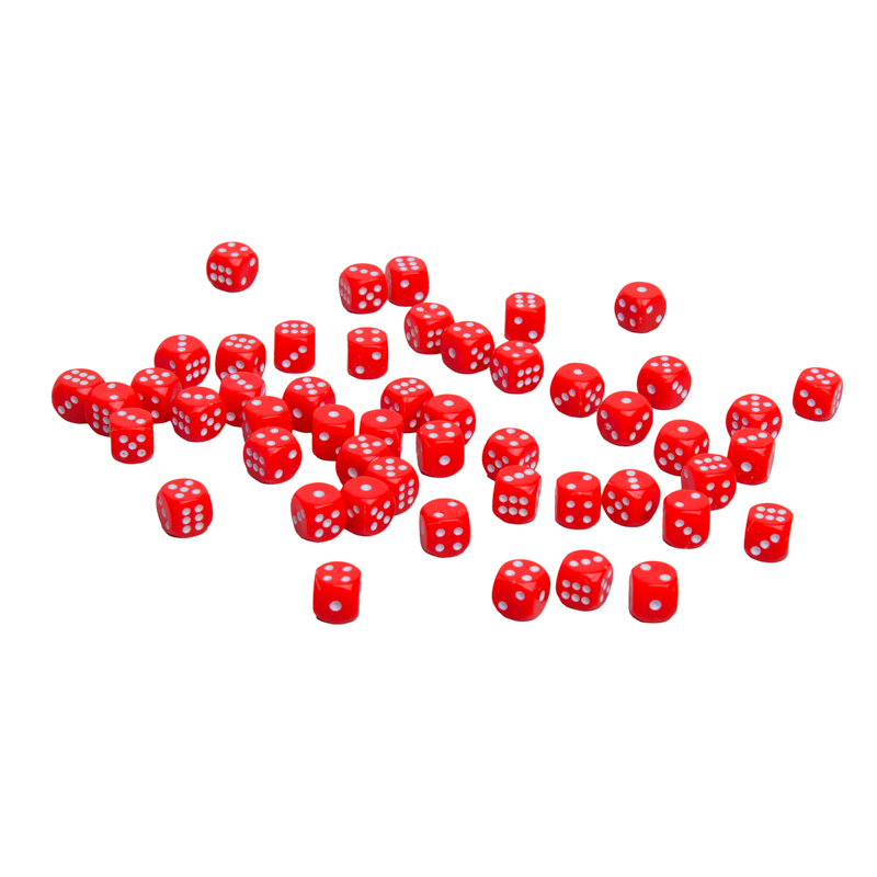 Кости игральные пластиковые, 10мм, 1 шт, цвет красный zar-red