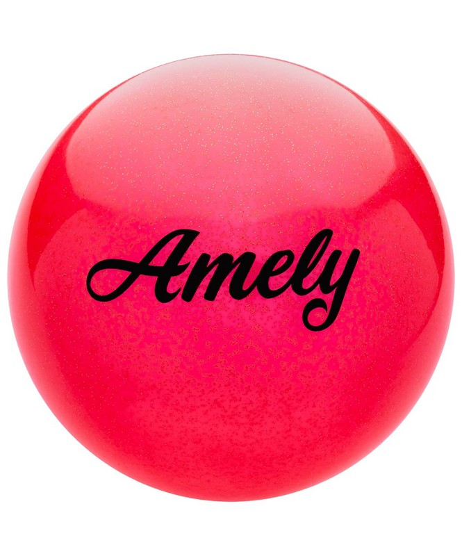Купить Мяч для художественной гимнастики Amely d19см AGB-102 красный, с блестками,