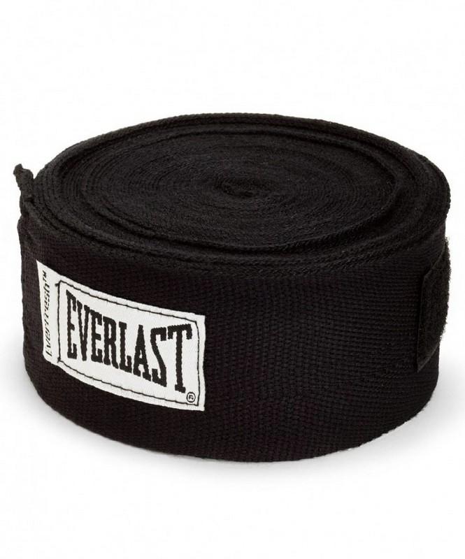 Купить Бинт боксерский Everlast 4463BK, 2,5м, эластик, черный,