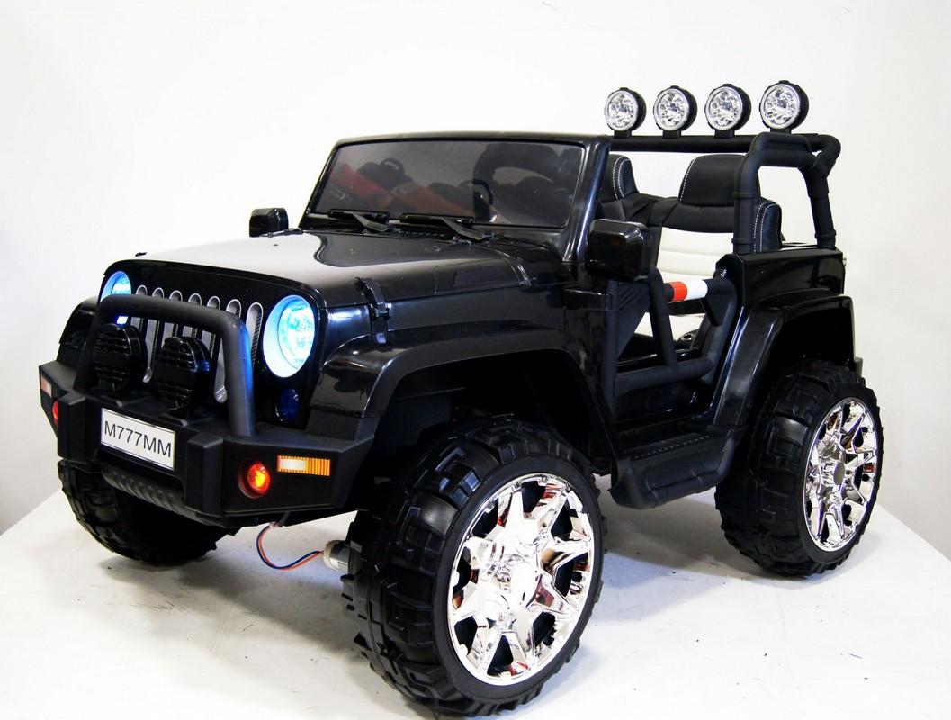 Купить Электромобиль River-Toys Jeep M777MM 4x4 черный, Детские электромобили