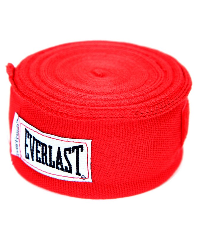 Бинт боксерский Everlast 4463RD, 2,5м, эластик, красный шлем боксерский everlast martial arts leather full face цвет красный размер s m