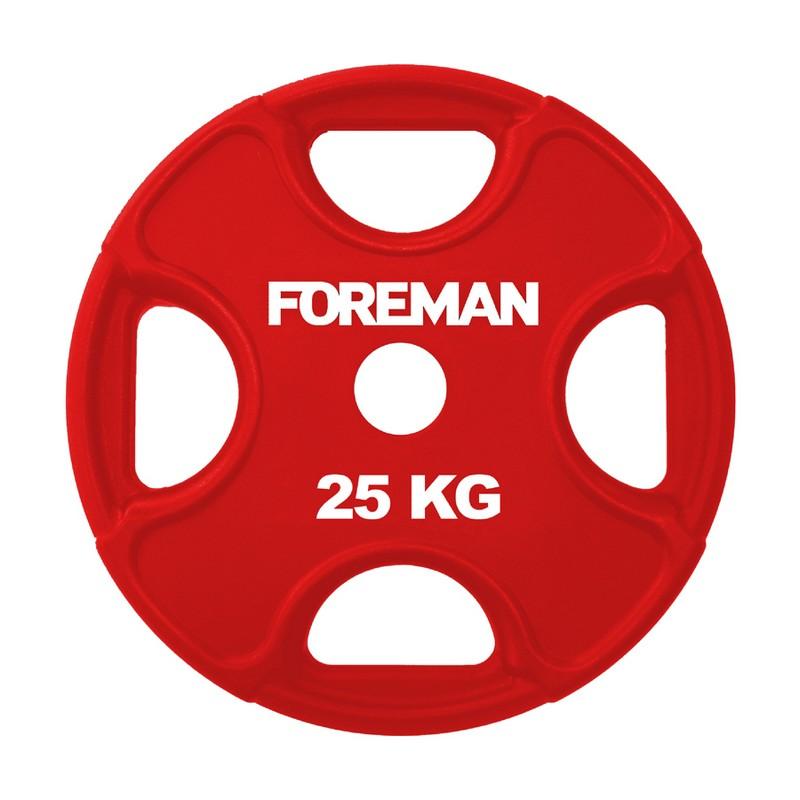 Купить Диск олимпийский обрезиненный Foreman PRR, 25 кг PRR-25KG Красный,