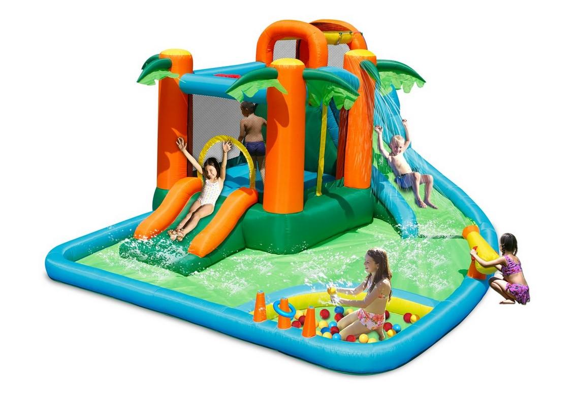 Детский водный надувной батут Happy Hop Горки Оазис 7 в 1 9264