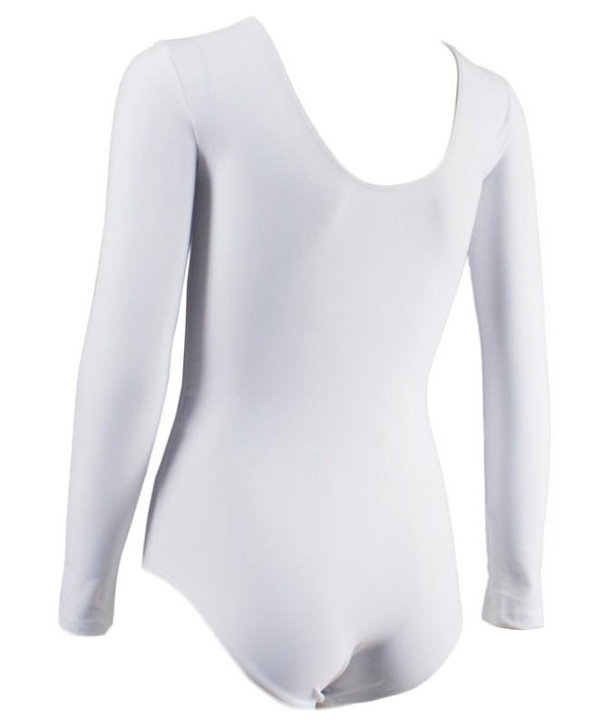 Купальник гимнастический с длинным рукавом, полиамид 142п/а (р.36-42) белый фото
