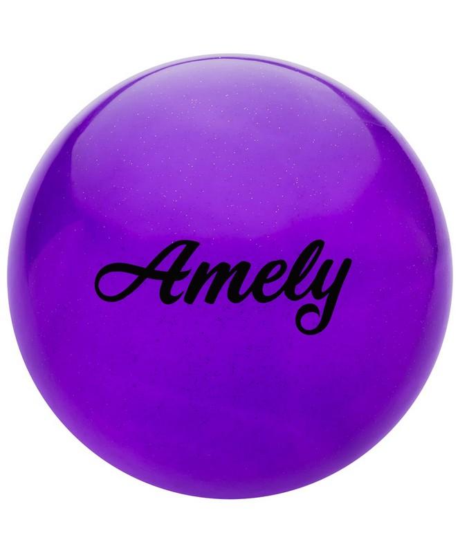 Купить Мяч для художественной гимнастики Amely d19см AGB-102 фиолетовый, с блестками,