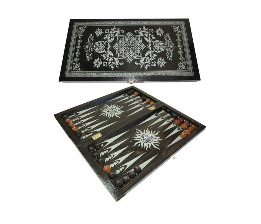 Купить Нарды средние черные рисунок серебро восьмигранник 034-11, NoBrand