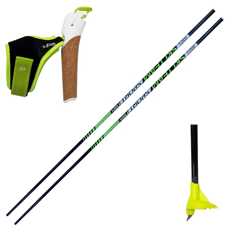 Лыжные палки Ski Team Progressive KIT (набор под обрезку) Карбон 100% T24 черно/желтый