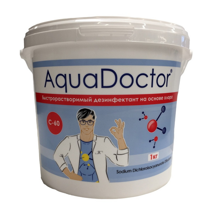 Купить Хлор AquaDoctor 1кг ведро, гранулы, быстрорастворимый AQ15540,