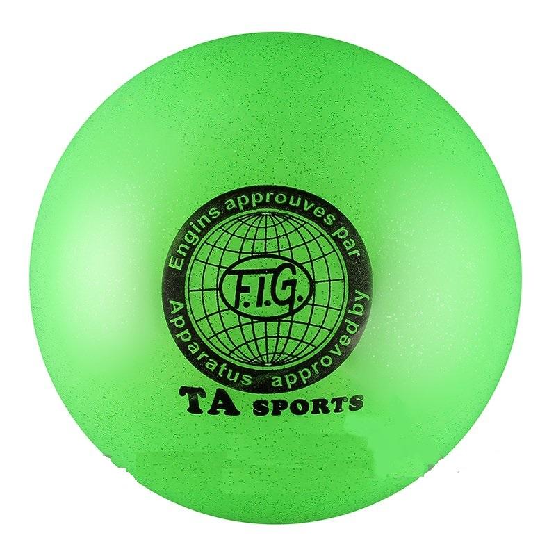 Купить Мяч для художественной гимнастики Indigo D=19 см (с блестками) зеленый,