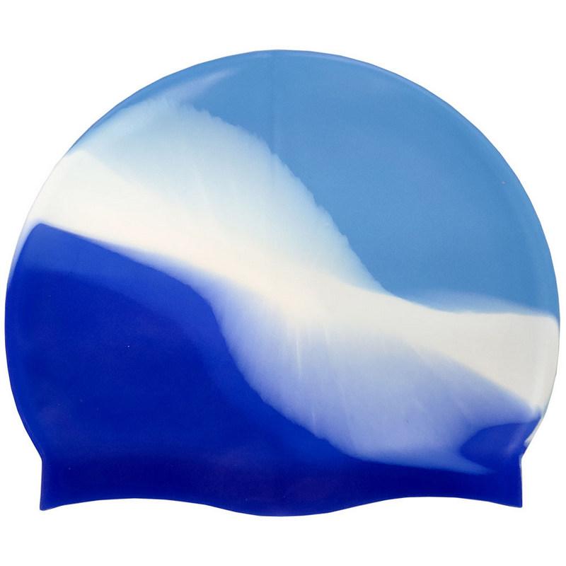 Купить Шапочка для плавания силиконовая B31518-2 (голубой/бело/васильковый), NoBrand