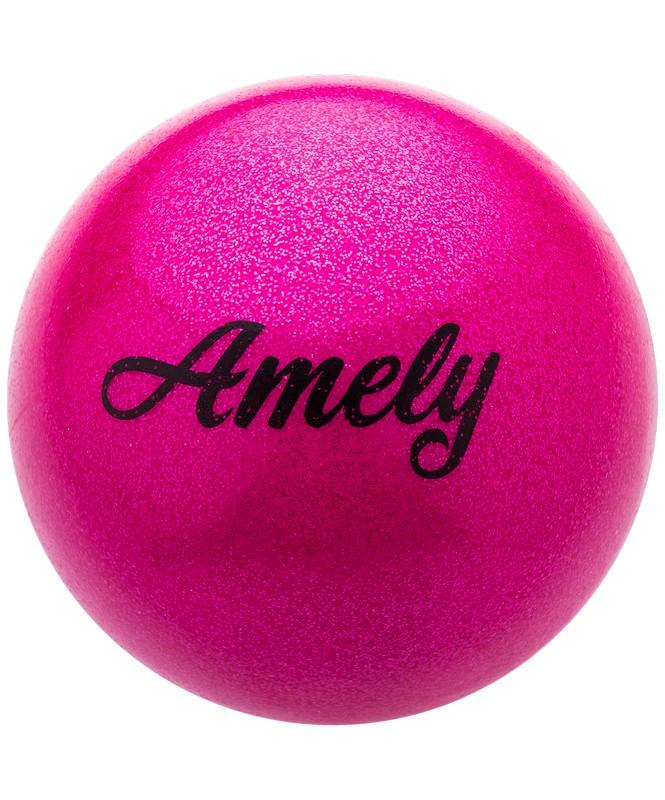 Мяч для художественной гимнастики Amely AGB-103 15 см, розовый, с насыщенными блестками фото