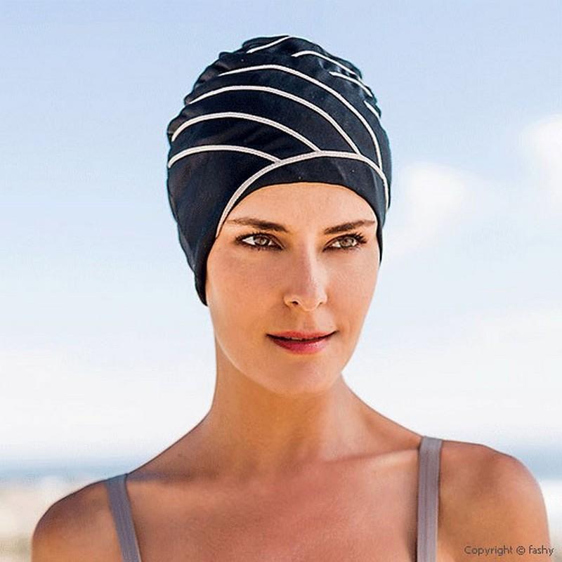 Шапочка для плавания Fashy Exclusive swimcap 3428 полиамид/эластан, женская, черно-бежевый,  - купить со скидкой