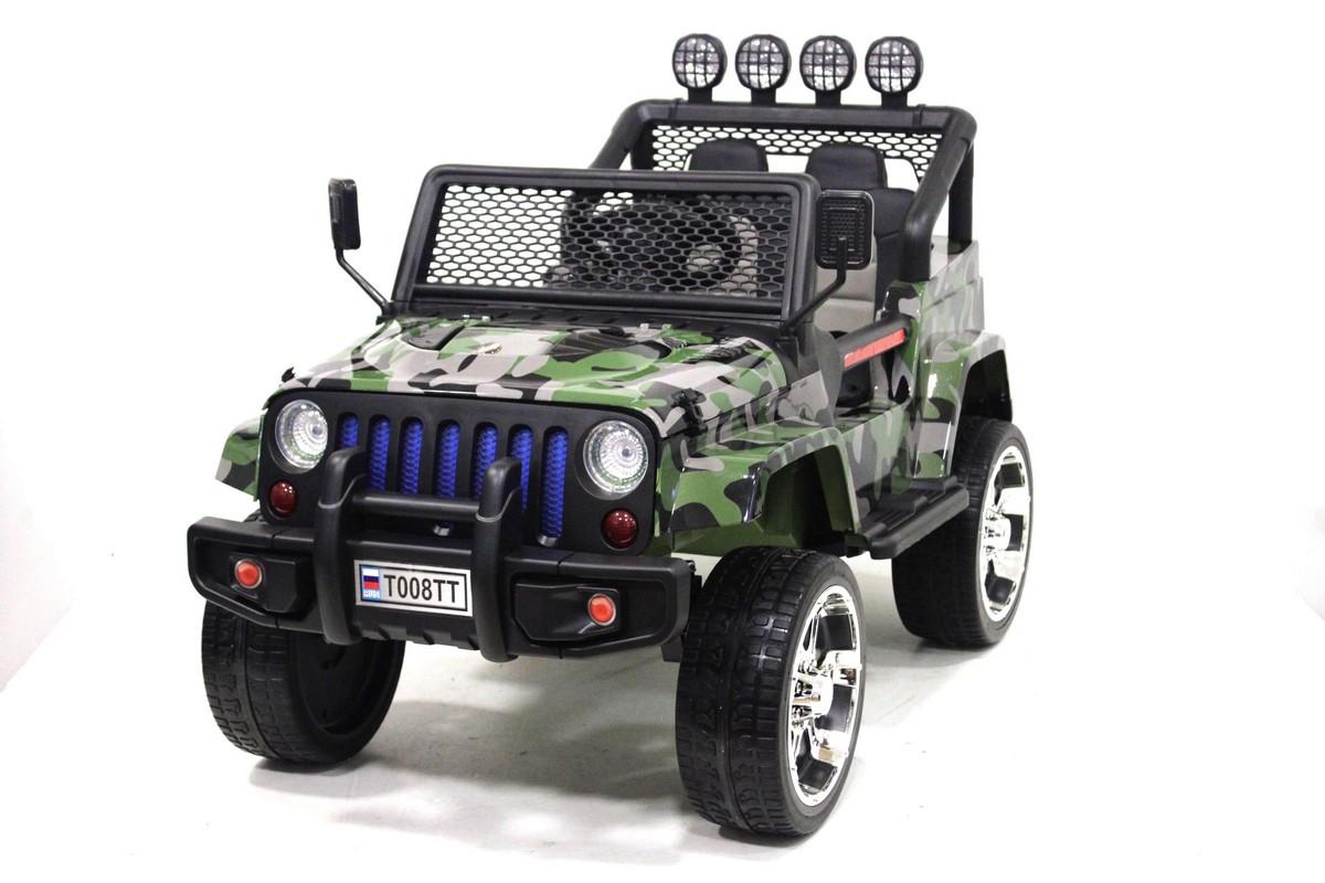Купить Электромобиль River-Toys Jeep T008TT 4*4 с пультом ДУ, camouflage, Детские электромобили