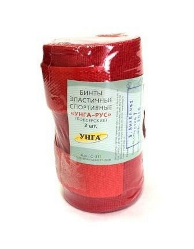Бинт эластичный спортивный УНГА-РУС С-311, боксерский, 250x5см, красный