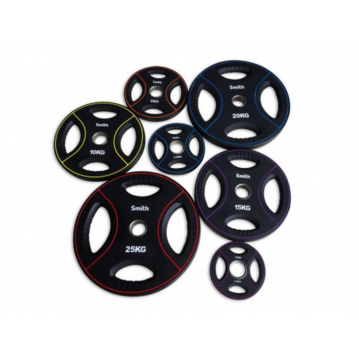 Купить Диск для штанги Smith Strength полиуретановый черный с цветными линиями, D51 мм 2,5кг PUWP12,