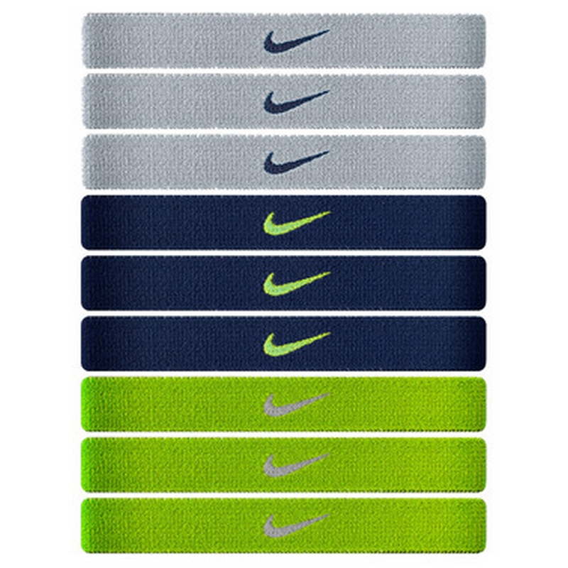 Резинка для волос Nike Sport Hairbands 9pk Base Grey/Obsidian/Volt N.JN.07.003.OS