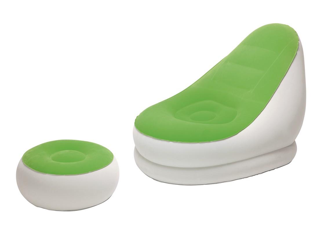 Купить Надувное кресло Comfort Cruiser Inflate-A-Chair 122х94х81 см с пуфиком для ног 54х54х26 BestWay 75053, Bestway