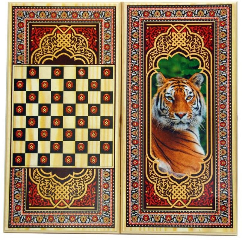Купить Нарды + Шашки Тульские Тигр малые u104511, NoBrand