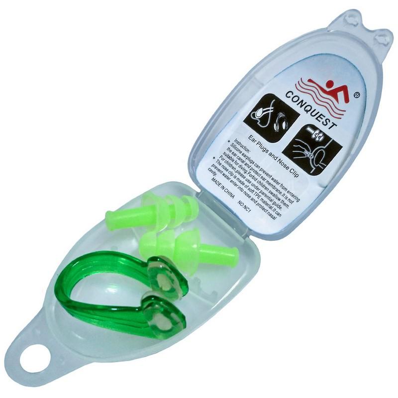 Купить Комплект для плавания беруши и зажим носа C33553-3 зеленые, NoBrand