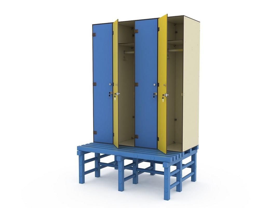 Шкаф ПТК Спорт СТ 4-1 на скамье-подставке (4 ячейки)
