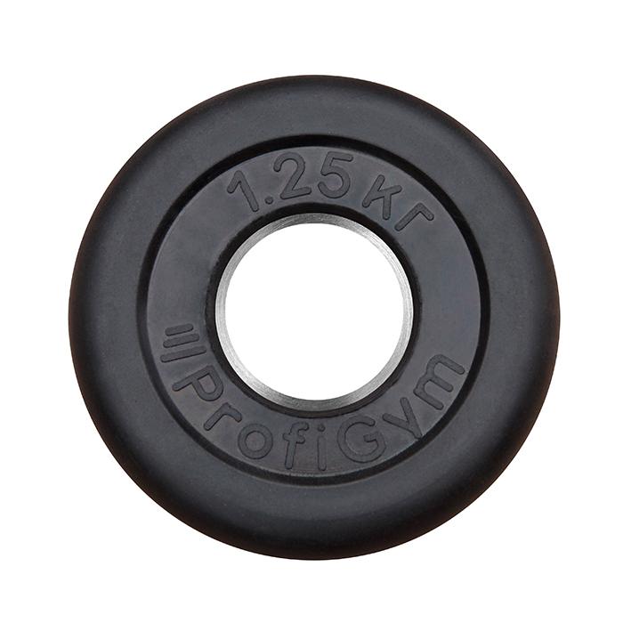 Купить Диск обрезиненный ProfiGym D=26 мм чёрный 1,25 кг ДТР-1,25/51,