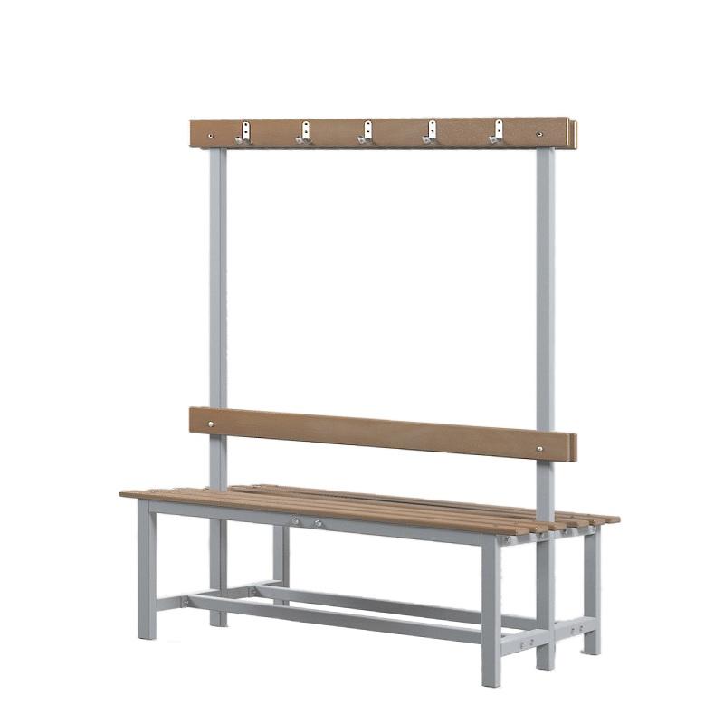 Купить Скамейка для раздевалки двухсторонняя с вешалкой 1200 мм сиденье из дерева Dinamika ZSO-002208,
