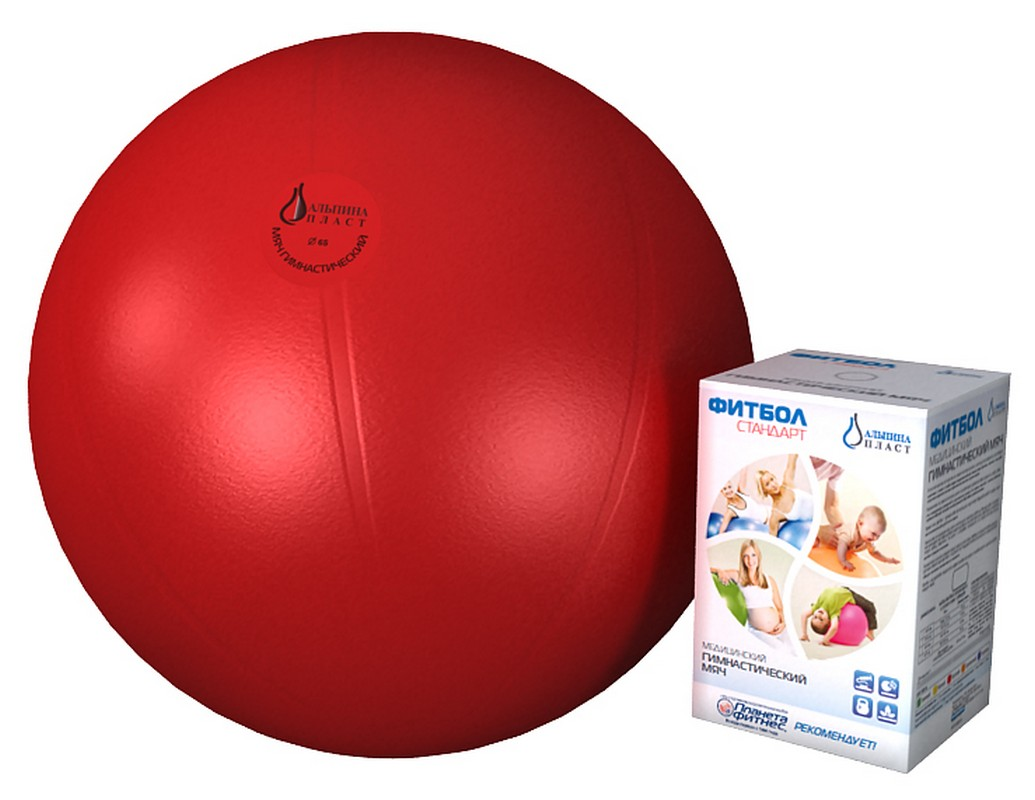 Купить Фитбол гимнастический Альпина Пласт Стандарт 45 см. красный,