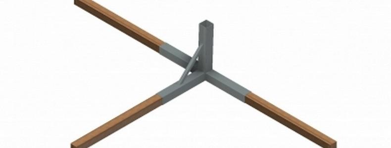 Закладной элемент для стальных волейбольных стоек Pesmenpol, профиль 80х80 мм