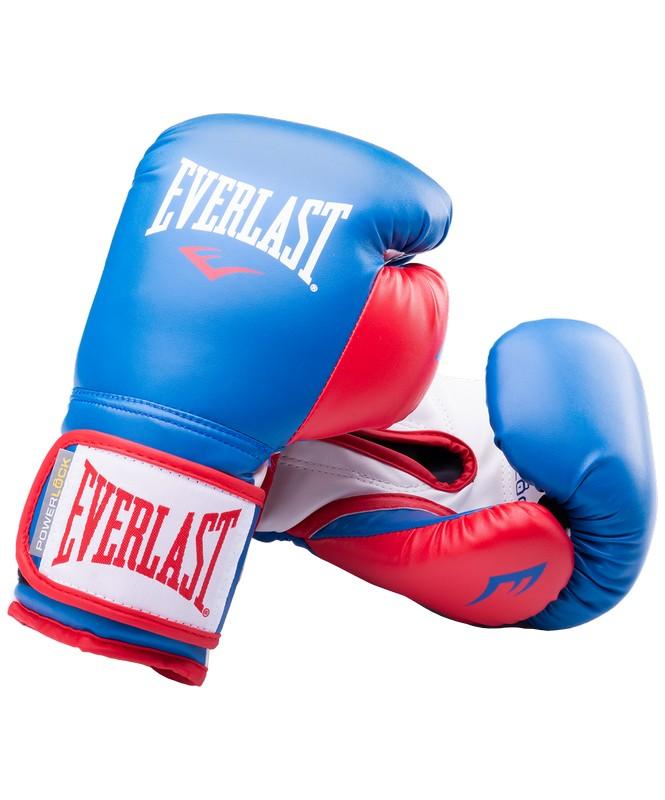 Купить Перчатки боксерские Everlast Powerlock P00000727-14, 14oz, к/з, синий/красный,
