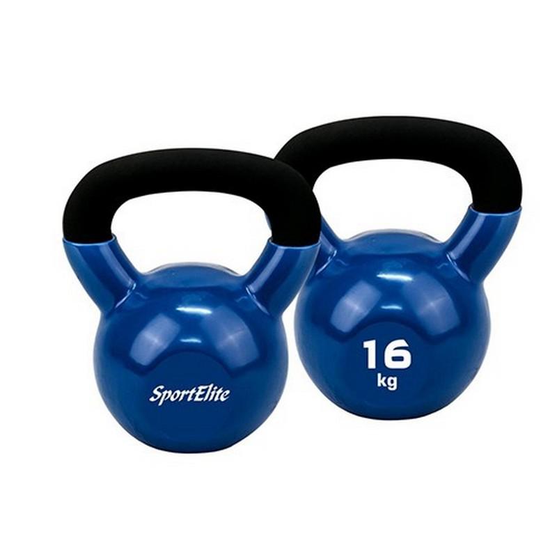 Гиря чугунная с виниловым покрытием 16 кг Sport Elite ES-0289
