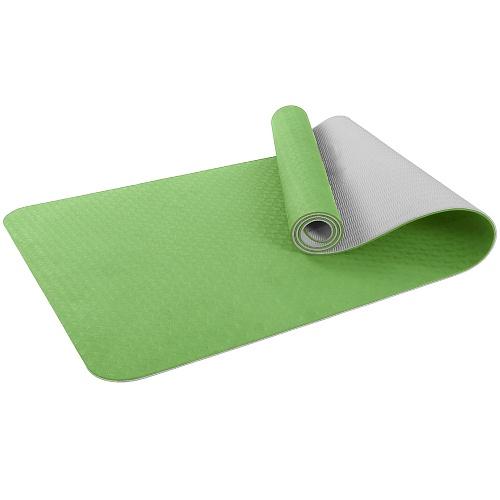 Купить Коврик для фитнеса и йоги Larsen TPE двухцветный зелён/серый 183х61х0,6см,