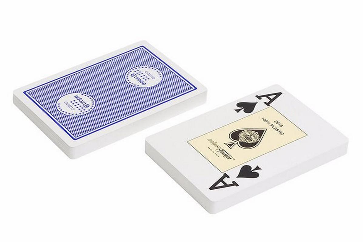Купить Карты Fournier 2818 Casino Europe,100% пластик, синяя рубашка f2818ceblue,