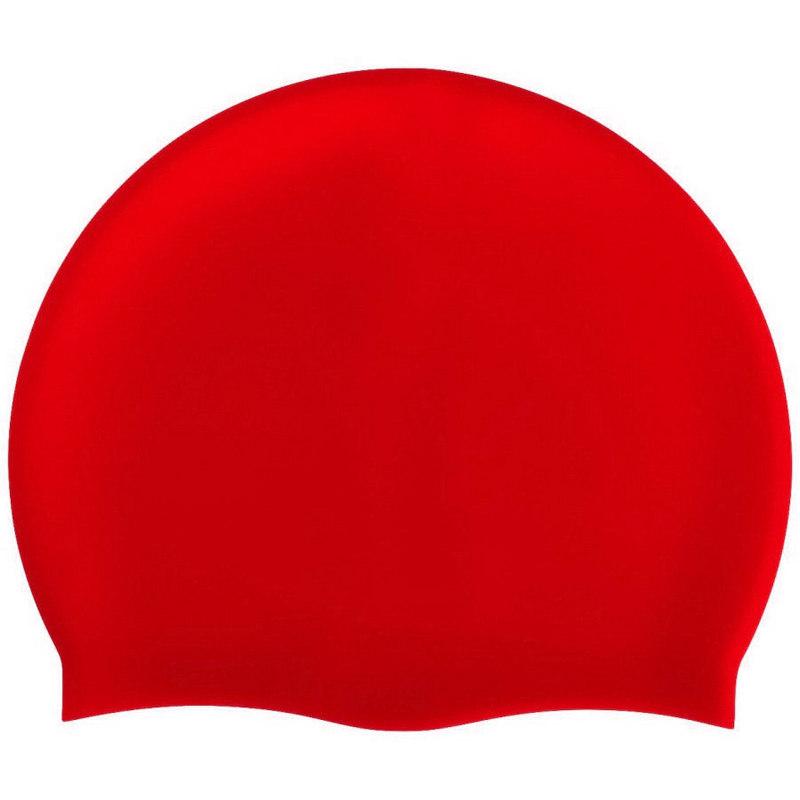 Купить Шапочка для плавания силиконовая одноцветная B31520-3 (Красный), NoBrand