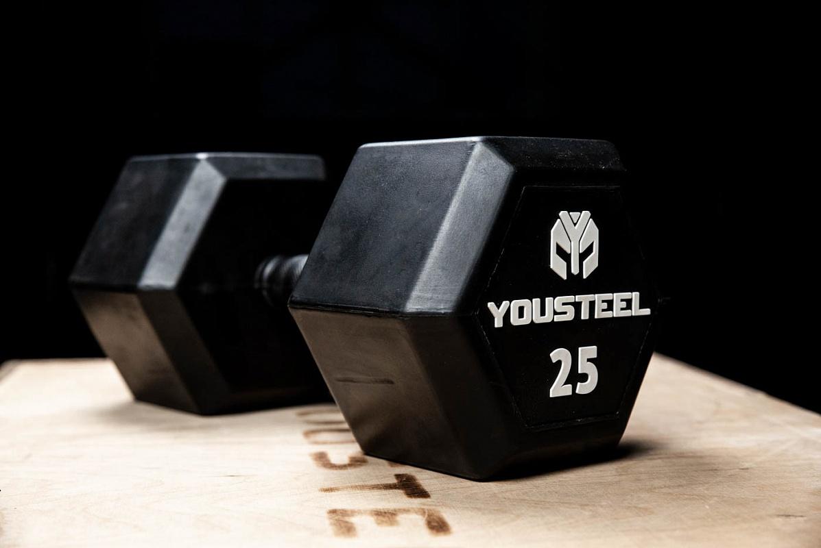 Купить Гантель обрезиненная YouSteel HEX DB 30 кг,