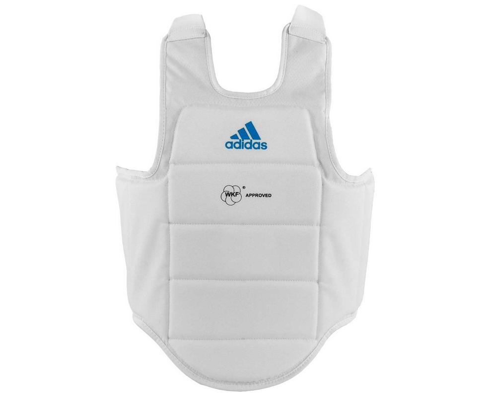 Защита корпуса Adidas Chest Guard WKF белая с голубым логотипом adiP03