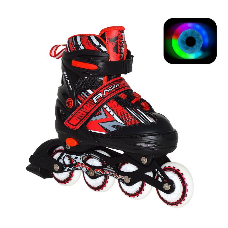Раздвижные роликовые коньки RGX Rasing Red LED подсветка колес