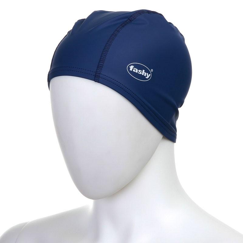 Купить Шапочка для плавания Fashy PU-Lycra Cap Long 3059-54 тканевая, темно-синяя,