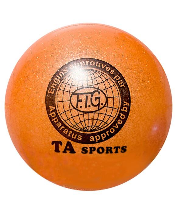 Купить Мяч для художественной гимнастики Indigo D=15 см (с блестками) оранжевый,