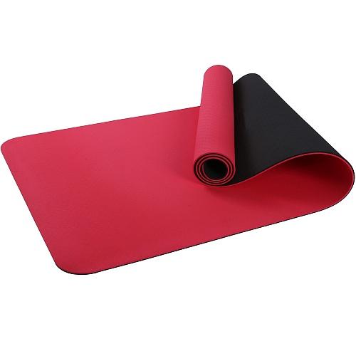Купить Коврик для фитнеса и йоги Larsen TPE двухцветный красн/чёрный 183х61х0,6см,