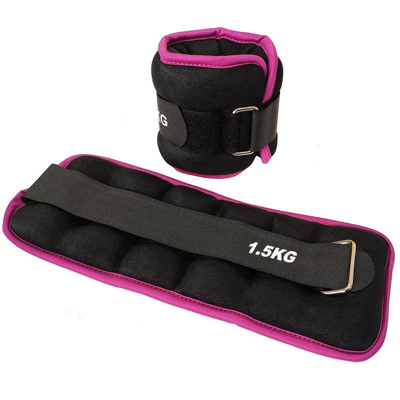 Купить Утяжелители (2х1,5кг) (нейлон) в сумке (черный с розовой окантовкой) ALT Sport HKAW103-4,